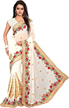 Saree for Women Indian Ethnic Sari in White Georgette