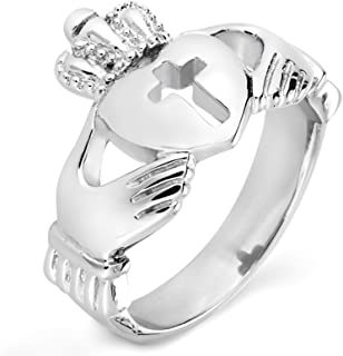 West Coast Jewelry | ELYA Rings for Women Stainless Steel Claddagh Cut-Out Cross Ring - Sizes 5-9