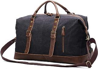 EverVanz Übergroßer Reisetaschen, Wochenend Tasche, Seesack, Vintage Handtasche, Segeltuch Lederbesatz Unisex Schultertasche