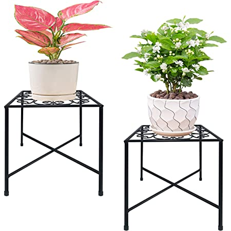 Amazon Com 3 Pack Metal Potted Plant Stands With Saucer For Indoor Corner And Outdoor Plants 9 Inches Flower Pot Planter Holder Bronze Color Round Garden Outdoor