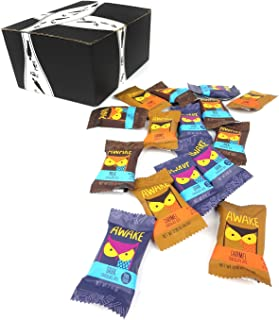 AWAKE Caffeinated Chocolate Bites 3-Flavor Variety: Five Approximately 0.53 oz Bites Each of Milk, Dark, and Caramel in a BlackTie Box (15 Items Total)