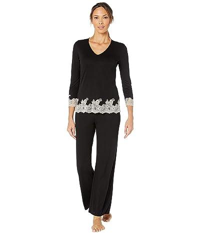 Natori Luxe Shangri-La Long Sleeve PJ Set (Black/Cocoon Lace) Women