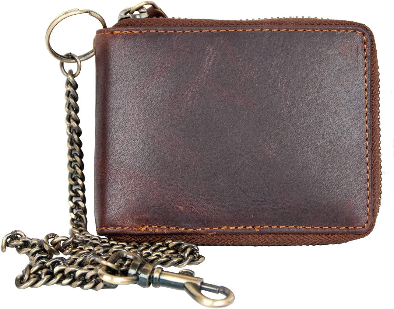 Pocket Size Leather Wallet with Metal Zipper and Chain without Any Logos or Markings