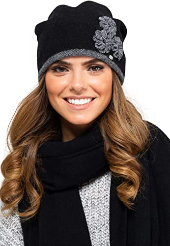Due parti elegante berretto con sciarpa abbinata set invernale da donna Valencia Kamea