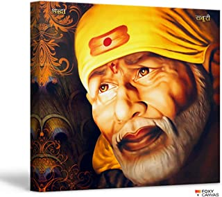 FoxyCanvas Shri Sai Baba / Shree Sai Baba / Shirdi Saibaba Giclee Canvas Print Stretched and Framed Wall Art for Home and Office Decorations 16x16 inch