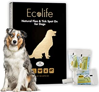 Ecolife All Natural Flea and Tick Spot-On Treatment for Dogs and Puppies, Prevent and Repels Against All Insects, Waterproof, 4 Month Protection