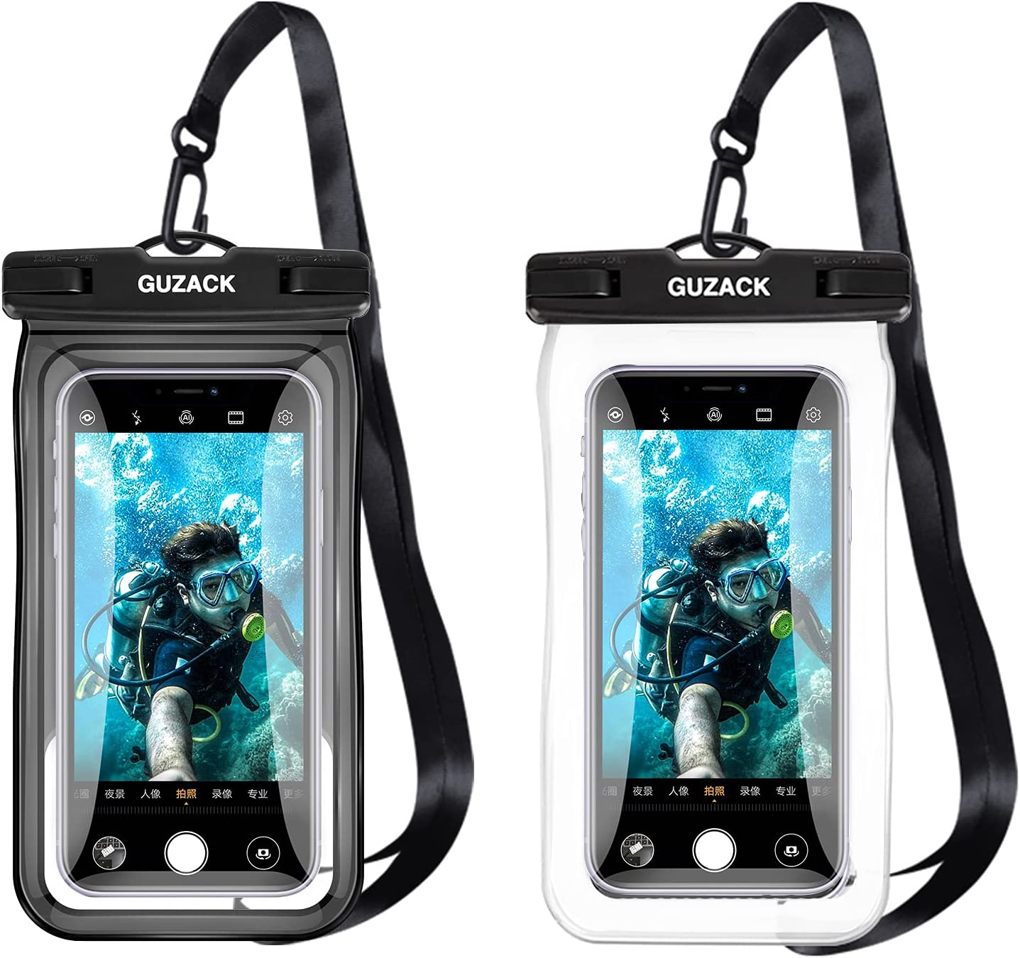 2 Pieces of Waterproof Mobile Phone Case, IPX8 Waterproof Mobile Phone Dry Bag, Underwater Protective Cover, Mobile Phone Waterproof Bag Suitable for iPhone/LG/Xiaomi/Samsung, Etc. 9 to 6.9 Inches