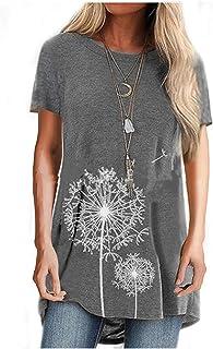 الأزهار طباعة قصيرة الأكمام المرأة t-shirt الإناث تي شيرت الشارع الشهير فضفاض عارضة زائد حجم النساء الملابس (Color : 11, S...