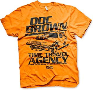Officially Licensed Doc Brown Time Travel Agency Mens T-Shirt (Orange)
