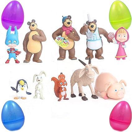 Masha And The Bear Masha Bear 10 PCS Action Figures Toy Dolls Gift Cake Topper