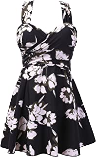 Women's Elegant Crossover One Piece Swimdress Floral Skirted Swimsuit(FBA)