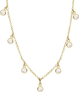 Jewelry for Women, Sterling Silver Yellow Plated Dangle Cubic Zirconia Choker Necklace, 13""