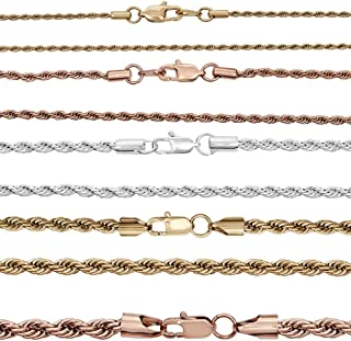 Harlembling Rope Chain - Yellow Gold Rose Gold & Silver Finish Over Real Solid Stainless Steel - 2mm 3mm 4mm 5mm 6mm - 18-30