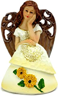 Linx Trade Group Thoughtful Angel in Yellow Sunflower Dress Resin Statue Figurine