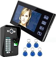 Video deurtelefoon intercom systeem kit, 7 inch bedrade video deurbel, lcd monitor + nachtzicht beveiligingscamera, RFID v...