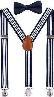 Kids Mens Suspenders Adjustable Y Back with Bow Tie Set