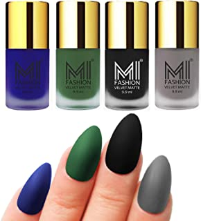 MI Fashion Nail Polishes Blue, Green, Black, Grey Velvet Matte Nail Paint Combo Set of 4 Pcs 9.9ml each