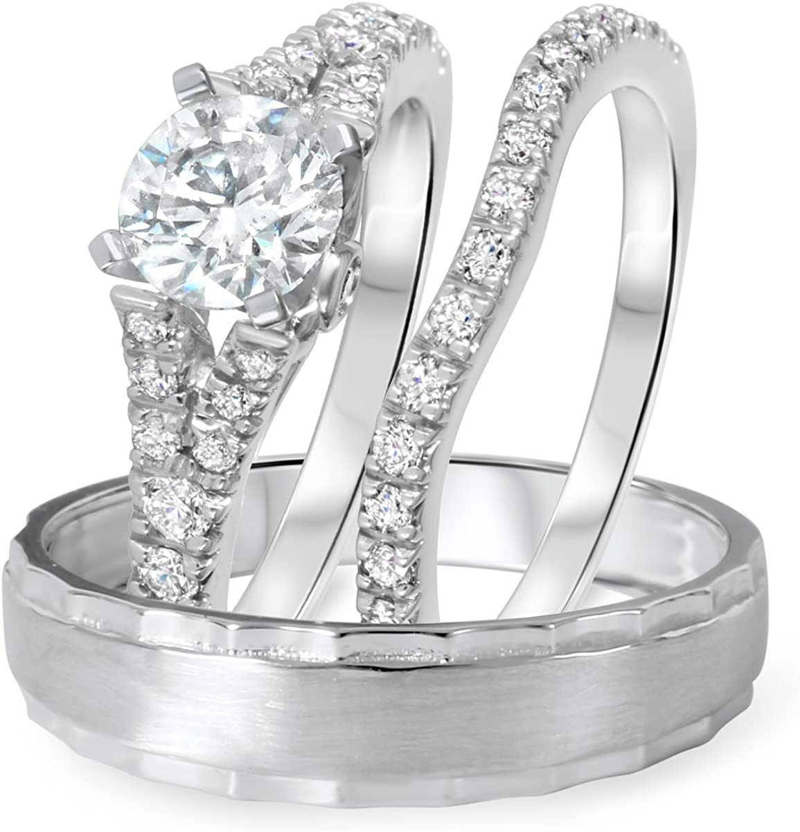 Triostar 14K Long Beach Mall White Gold Finish 1 His Round Ct Diamond 2 Cut Beauty products