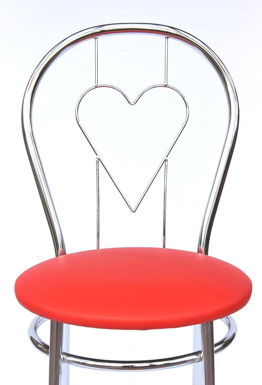 DanDiBo Chaise en métal Chaise Bistro Pique, Trèfle, Carreau ou Cœur 88cm chromé Chaises (Cœur 261C Rouge) Coeur 261c Rouge