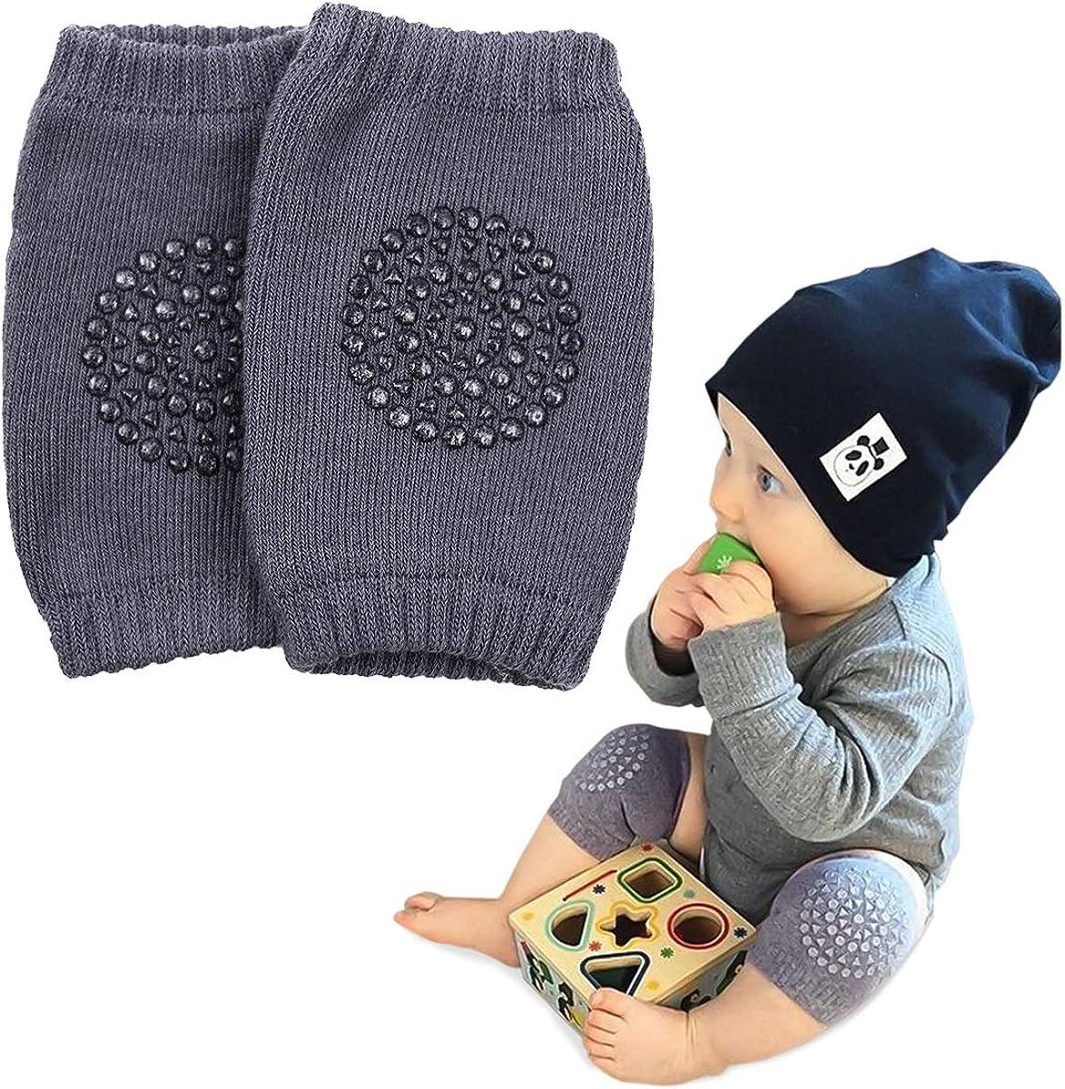 Baby Knee Pads,Toddler Baby Knee Pad, Adjustable Elastic Cotton Baby Crawling Knee Pads Baby Toddler Anti-Skid Kneepads Leg Warmers Unisex (Dark Gray)