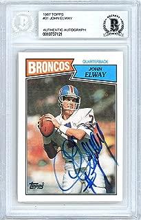 John Elway Autographed 1987 Topps Card #31 Denver Broncos Beckett BAS #10737121 - Beckett Authentication