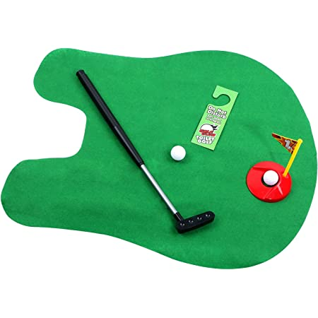 HuoBi Golf Toy Set Toilet Game Golf Toy, Golf Drinker Toilet Toy Golfing Game Indoor Practice Mini Golf Gift Set Golf Training Accessory with 2 Balls