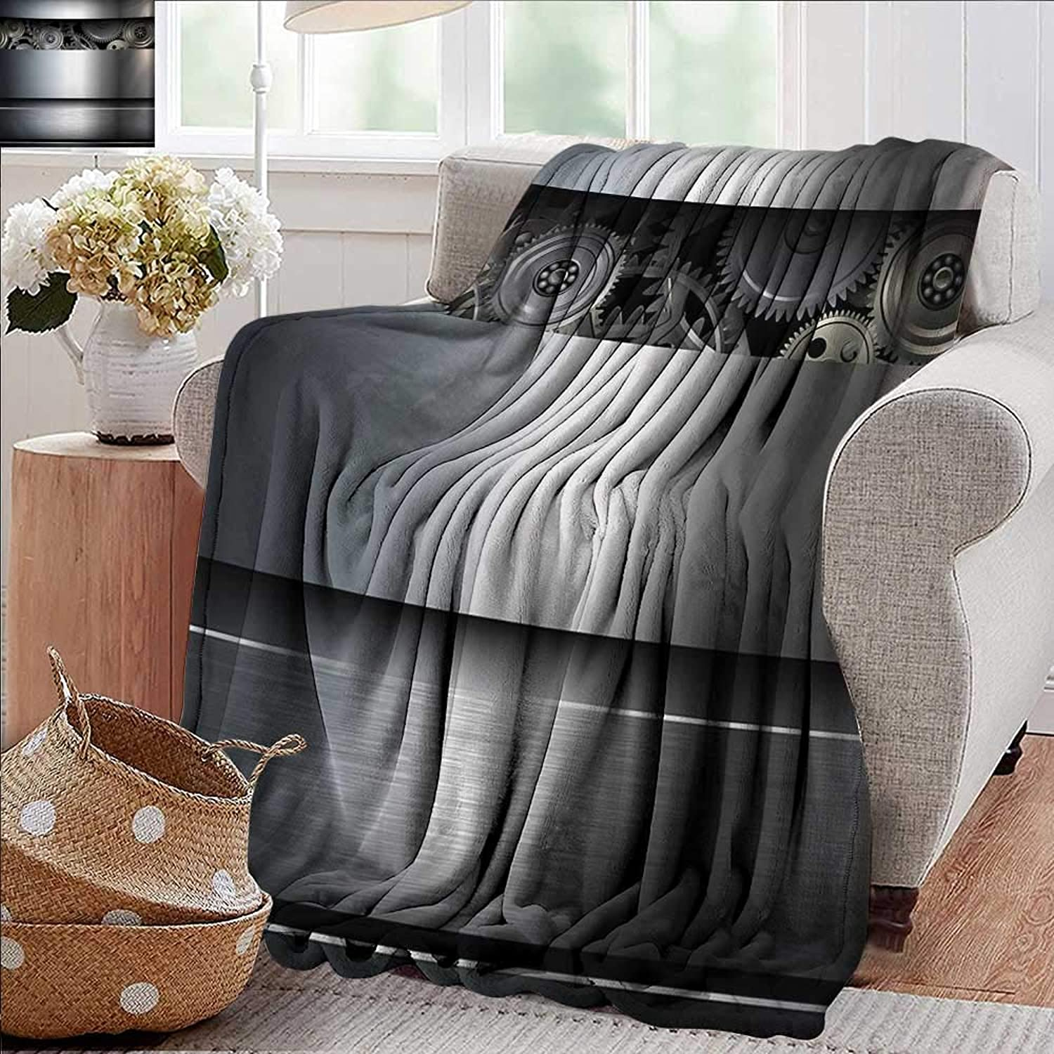 Bed Blanket,Industrial,Technological Gears Robotic Future Imagination Clockwork Science Modern Artwork,Silver,for Bed & Couch Sofa Easy Care 70 x90