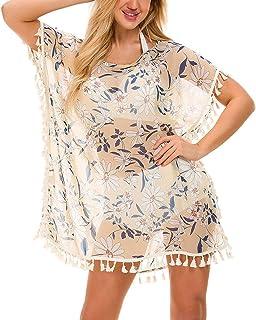 c23c7ee237 Multitrust Women Perspective Stripe Print Tassel Swimsuit Cover Up Dress  Kaftan Bikini Swimwear Cover-Ups