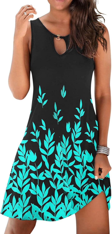 ONHUON T Shirt Dress for Women Summer,Women's Cute Sundress Casual Sleeveless Sexy Dress Print Mini Sundress
