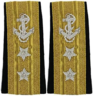 NEW US NAVY SOFT SHOULDER BOARDS 2 STARS MALE LINE OFFICER RANK ADMIRAL (UPPER DECK) - Hi Quality CP MADE PAIR