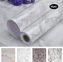 """Art3d 17.7""""x78.7"""" Marble Contact Paper Countertops - Self Adhesive Shelf Drawer Liner - Gray Decorative Contact Wallpaper - Waterproof, Peel and Stick, Easily Removable (17.71"""" x 78.74"""", Matt)"""