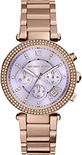 Michael Kors Parker Women's Lilac Dial Stainless Steel Band Chronograph Watch - MK6169