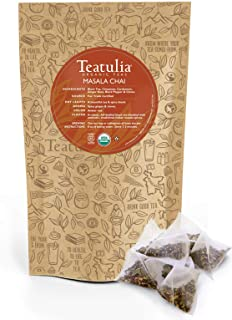 Teatulia Organic Chai Tea 50ct Premium Pyramid Tea Bags - Black Tea, Cinnamon, Cardamom, Ginger Root, Black Pepper & Cloves - Brew Hot or Cold Compostable Corn-Silk Bags