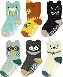 Wrapables Peek A Boo Animal Non-Skid Toddler Socks (Set of 6), Bears and Buddies (Large)