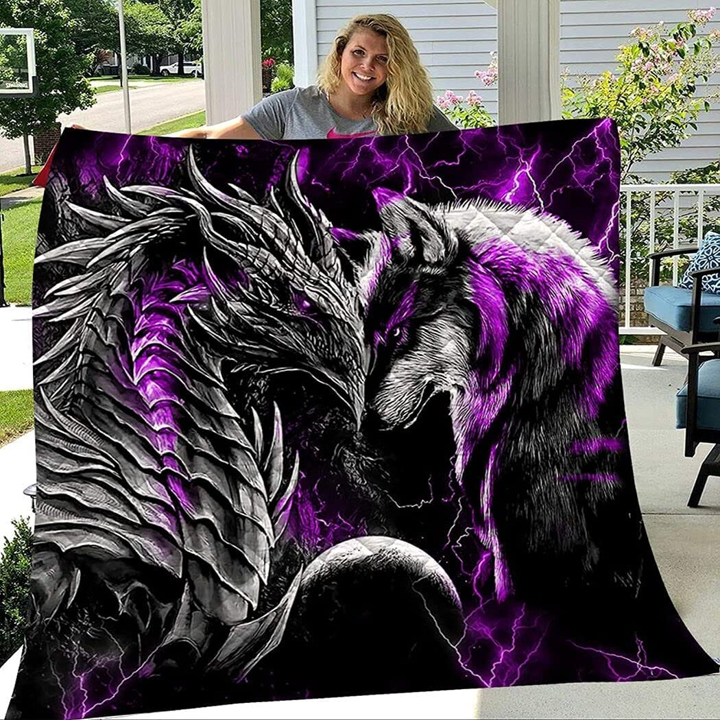 Personalized Purple Dragon and Wolf Set Gir SALENEW very popular Reservation Birthday Quilt