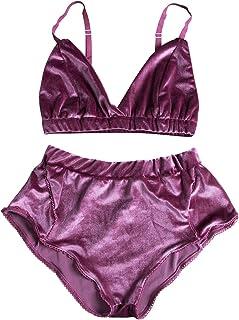 Women's 2 Piece Vintage Velvet Lingerie Set Strap Bra Underwear Suit