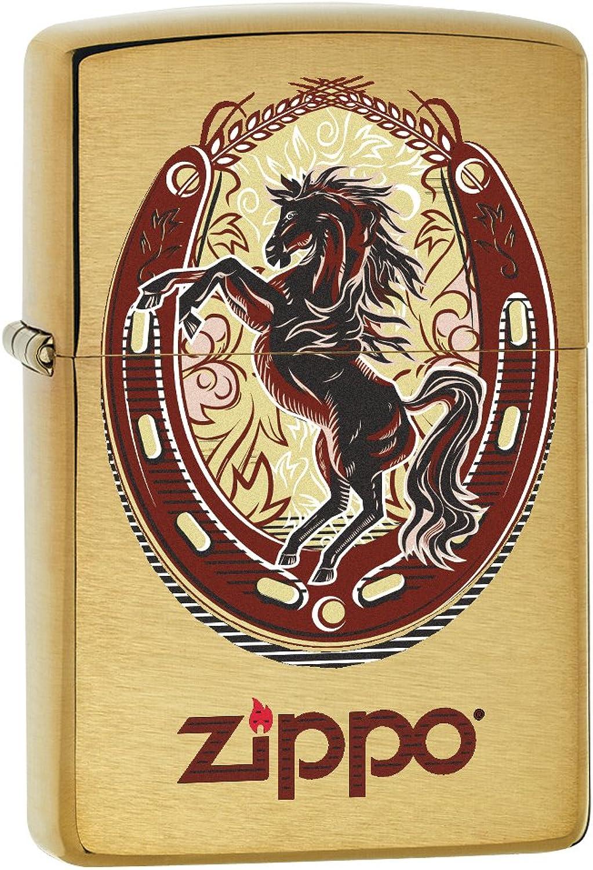 Zippo Lighter  Horse and Horseshoe  Brushed Brass