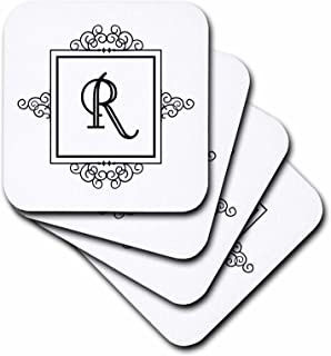 3dRose Initial Letter R Personal Monogrammed Fancy Black and White Typography Personalized - Soft Coasters, Set of 8 (CST_154341_2)