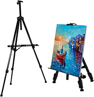 amzdeal Chevalet de Peinture -Hauteur Adjustable 52cm-162cm, Chevalet de Campagne Pliable et Léger en Alliage d'Aluminium ...