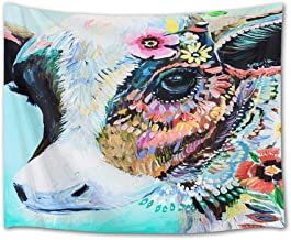 HVEST Animal Tapestry Watercolor Cow with Flowers Tapestry Wall Hanging Animal Tapestries for Kids Bedroom Living Room Dorm Party Wall Decor,80Wx60H inches