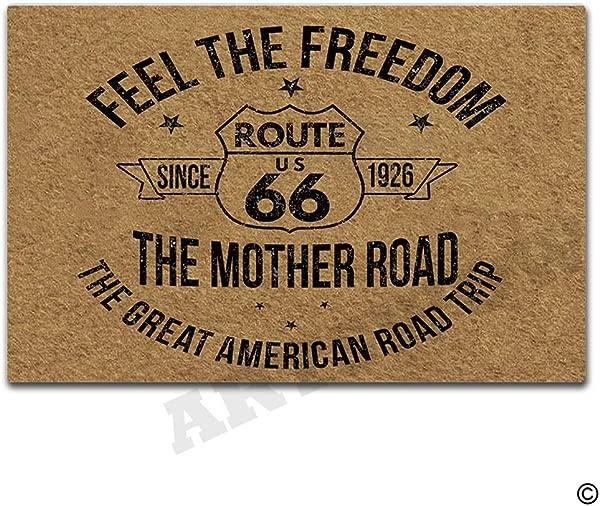 Artswow Welcome Door Mat Route 66 Funny Doormat Entrance Floor Mat With Non Slip Rubber Backing Door Mat 23 6 By 15 7 Inch