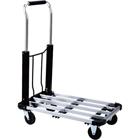Foldable Push Cart Aluminum Alloy Platform Cart With 4 Wheel 330 Lb Capacity Home Improvement
