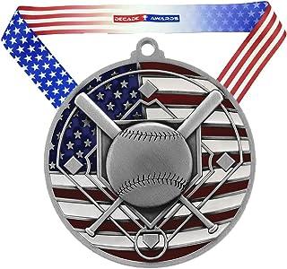 Decade Awards Baseball Patriotic Engraved Medal - 2.75 Inch Wide Baseball Medallion with Stars and Stripes American Flag V Neck Ribbon