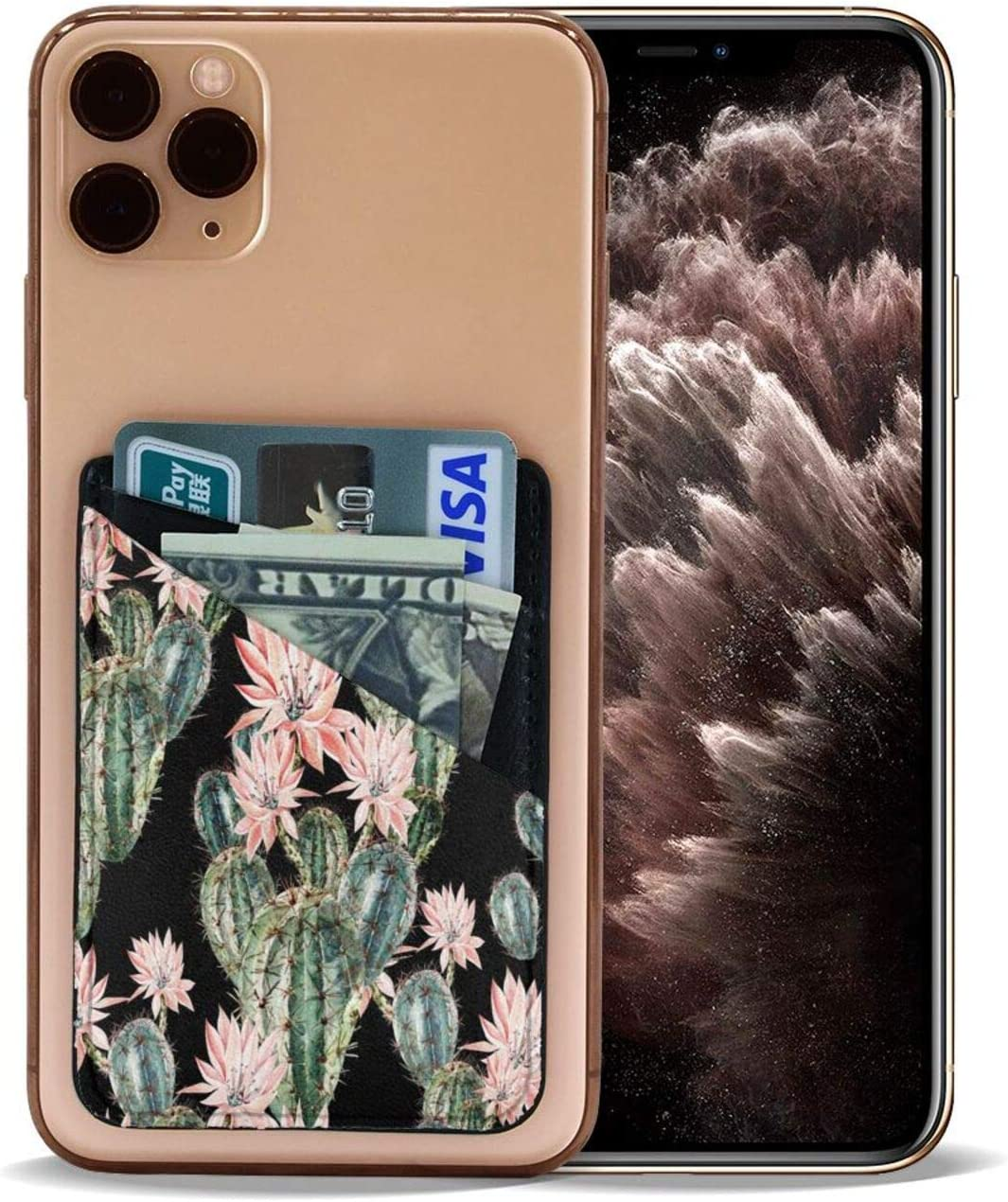 Vintage Cactus Phone Card Holder, Stick-on ID Credit Card Wallet Phone Case Pouch Sleeve Pocket for iPhone, Android and All Smartphones