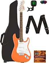Fender Squier Affinity Series Stratocaster Guitar - Laurel Fingerboard, Competition Orange Bundle with Gig Bag, Tuner, Str...
