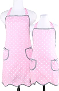 NEOVIVA Kitchen Aprons with Pockets for Mother and Daughter, Mama and Me Aprons Set for Cooking, Baking and Gardening, Style Wendy, Polka Dot Pink