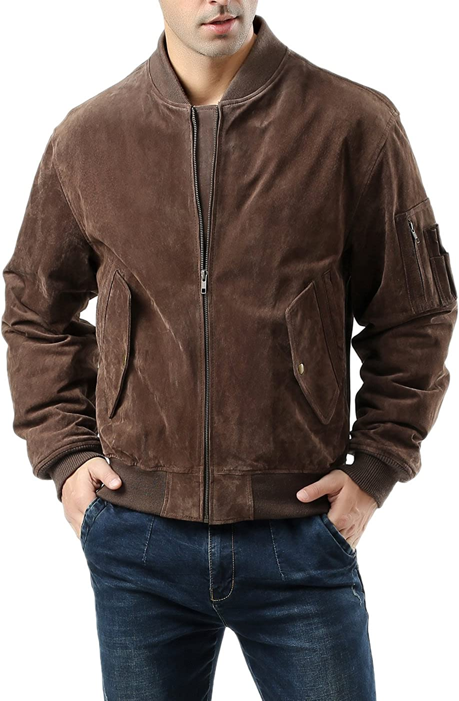 Landing Leathers Men MA-1 Suede Leather Flight Bomber Jacket (Regular and Big & Tall)