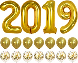 2019 Balloons Gold Confetti Balloon - Graduation Party Supplies 2019 | Graduation Decorations Gold | Large 2019 Balloons with 7 Gold Confetti Balloons and 7 Gold Latex Balloons | Graduation Balloons