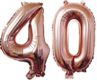 TRIXES Number 40 Foil Balloon – Jumbo Size 40-inch Party Decoration Supplies –Photo Props - for Birthdays Anniversaries – Rose Gold