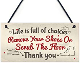 """Meijiafei Remove Your Shoes Hanging Home Wall Plaque Door Sign Friendship Thank You Gift 10"""" x 5"""" - 25.4cm x 12.7cm PVC-RC..."""
